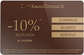 Kavos žinovai nuolaidų kortelė