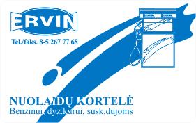 ERVIN nuolaidų kortelė
